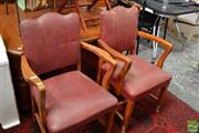 Sale 8465 - Lot 1655 - Pair of Art Deco Carver Chairs