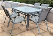 Sale 8677A - Lot 25 - An Outdoor seven piece dining setting with glass top, H x 72cm, W x 155cm, D x 97cm