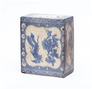 Sale 8863H - Lot 29 - A Chinese rectangular form insense stand decorated with blue floral themes, Height 15cm