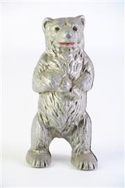 Sale 8873 - Lot 14 - Bear Formed Silvered Money Box, H14.5cm