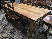 Sale 8882 - Lot 1004 - Oak Farmhouse Style Dining Table, fitted with three drawers & on tapering legs