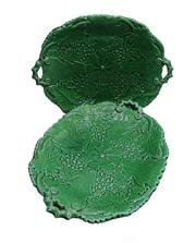 Sale 8972H - Lot 55 - A pair of antique English green majolica serving dishes ( small edge wear) 28 x 22 cm