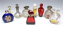 Sale 9098 - Lot 205 - Collection of glass perfume bottles incl. hallmarked sterling silver topped examples