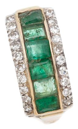 Sale 9128J - Lot 10 - A 14CT GOLD EMERALD AND DIAMOND RING; channel set across the top with 6 emerald cut emeralds (chipped, worn, reglued) flanked by 20...