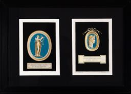 Sale 9130H - Lot 47 - Two framed book plates by B. Gabbugiani after Io. Dom. Campiglia depicting blue ground plaques, with Latin inscriptions