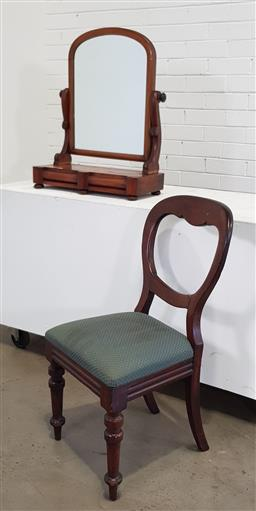 Sale 9166 - Lot 1044 - Victorian mahogany toilet mirror with pillow front drawers and dining chair (h:70 x w:56cm)