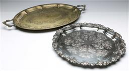 Sale 9168 - Lot 414 - A silver plated serving tray together with a twin handled example (L:65cm and 42cm)