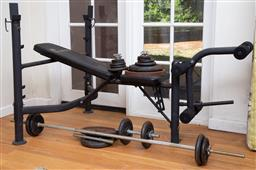 Sale 9190H - Lot 468 - A Synergy Fitness bench press with dumbells and assorted weights.