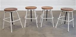 Sale 9218 - Lot 1010 - Set of 4 round timber top on adjustable white metal base stools (d38cm)