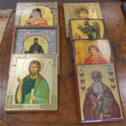 Sale 8310A - Lot 78 - A collection of seven religious icons in various sizes, largest 30 x 24cm.