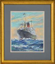 Sale 8325A - Lot 117 - Reginald Rowe (1916 - 2010) - R.M.S Franconia 28.5 x 23.5cm