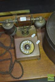 Sale 8331 - Lot 1492 - Brass & Timber Vintage Dial Phone