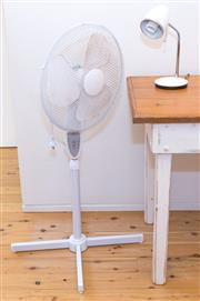 Sale 8380A - Lot 80 - A pedestal fan together with a white bedside lamp
