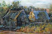 Sale 8563T - Lot 2023 - Joan Patch - Mittagong Farm, mixed media, 24 x 37cm, signed lower right