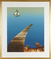 Sale 8794 - Lot 2071 - Mike Phelps (1946 - ) - Pier I screenprint, ed. 16/60, 87 x 74cm, signed lower right -