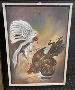 Sale 9087 - Lot 2039 - A Retro painting of cock fighting by an unknown artist, frame: 70 x 51 cm