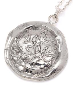 Sale 9132 - Lot 501 - A SILVER SEAL PENDANT ON CHAIN; 27mm wide medallion featuring Tree of Life on a cable link chain to bolt ring clasp, length 51cm, wt...