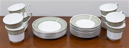 Sale 9140H - Lot 31 - A set of eight Staffordshire trios in the Avignon pattern, (missing one bread and butter plate)