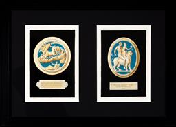 Sale 9130H - Lot 48 - Two framed book plates by Carol Gregori, after Domenico Campiglia depicting blue ground plaques, with Latin inscriptions to base