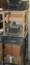 Sale 7670A - Lot 1128 - Stainless steel one drawer cabinet, chair, binoculars and collectables plus two cardboard boxes containing record players