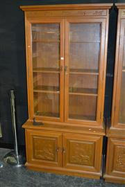 Sale 7987A - Lot 1016 - Glass Door Display Cabinet with Hunting Scenes