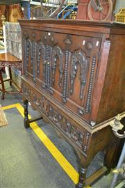 Sale 8093 - Lot 1824 - Antique Oak Elevated Court Cupboard with 2 Carved Panel Doors over 2 Drawers
