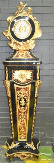 Sale 8267 - Lot 1084 - French Style Gilt Metal & Ebonised Longcase Clock, with German Franz Hermle three train spring movement, the case mounted with angel...
