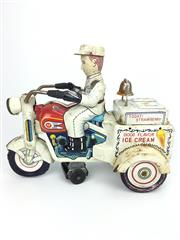 Sale 8276 - Lot 61 - Vintage Crank Wound Ice-Cream Cycle Tin Toy With Original Box
