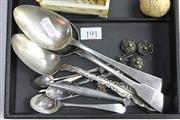 Sale 8360 - Lot 191 - English Hallmarked Sterling Silver Spoons with Other Silver Cutlery (Weight - 222g)