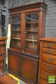 Sale 8390 - Lot 1061 - A Victorian Mahogany Bookcase with two arched glass and two timber panel doors