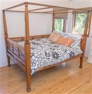 Sale 8380A - Lot 81 - An Indonesian four poster double bed, frame size H 186 x W 160 x D 206cm, with bedding and cushions