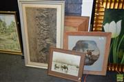 Sale 8509 - Lot 2063 - Group of (5) Assorted Artworks incl. Abstract work on paper, engraving, decorative prints, framed Chinese Silk embroidery