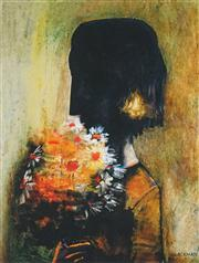 Sale 8538A - Lot 5019 - Charles Blackman (1928 - ) - Girl with Yellow Bouquet 38 x 28cm (fame size: 66.5 x 53cm)