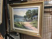 Sale 8753 - Lot 2069 - Noeline Millar - Ken Dones Cottage, Chinamans Beach oil on board, 56.5 x 66.5cm (frame) signed lower right -