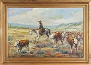 Sale 8797 - Lot 2036 - Artist Unknown - Cattle Droving oil on canvas, 59.5 x 91cm, signed verso P R Pollosy -