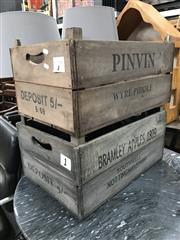 Sale 8805 - Lot 1096A - Pair of Rustic Timber Apple Boxes