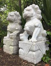 Sale 8857H - Lot 13 - A Pair Large Carved Stone Temple Foo Dogs Each Carved  From One Piece of Marble, Size: 60cm H x 29 Cm Widest, General Wear, Slight C...