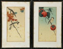 Sale 9093P - Lot 32 - Yoshimoto Gesso Bird with Persimmon and Bird with Maple Leaves (2x) woodblocks (22x35cm)