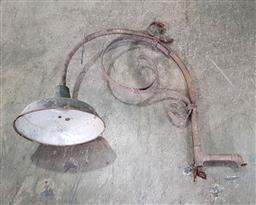 Sale 9188 - Lot 1797 - Vintage wrought iron street lamp with enamel shade (h77 x w98 x d33cm)