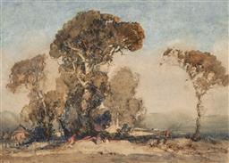 Sale 9214 - Lot 538 - TOM GARRETT (1879 - 1952) Figures in Country Landscape monotype 25.5 x 35.5 cm (frame: 51 x 59 x 2 cm) signed lower right