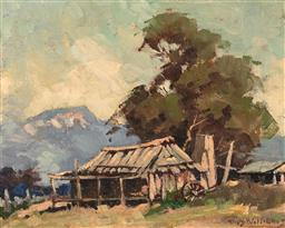 Sale 9256A - Lot 5050 - RHYS WILLIAMS (1894 - 1976) The Old Slab Hut oil on board 19 x 24 cm (frame: 35 x 39 x 3 cm) signed lower right. Artlovers Gallery l...
