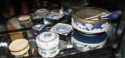 Sale 7962B - Lot 93 - Shelf lot of Wedgwood Jasperware including salad bowl and severs and trinket boxes