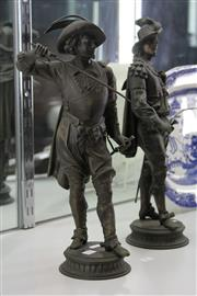 Sale 7998 - Lot 19 - Pair of Late 19th Century Spelter Musketeers Statues