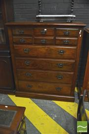 Sale 8390 - Lot 1065 - Edwardian Blackwood Chest of Drawers, by A Svensson Latrobe St Melbourne, of seven drawers, with ink stamp to back