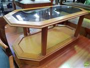 Sale 8550 - Lot 1144 - Tiered Timber Coffee Table with Glass Insert Top