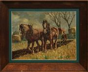 Sale 8762 - Lot 2043 - Artist Unknown (C20th) - Clydesdale Horses Ploughing, c1920s 37 x 49cm