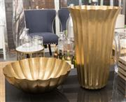 Sale 8709 - Lot 1086 - A Tom Dixon brass vase and bowl of fluted form, Height of vase 55cm