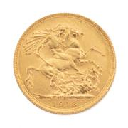 Sale 8855H - Lot 68 - 1918 gold sovereign weight approx 7.95g, S above 1918