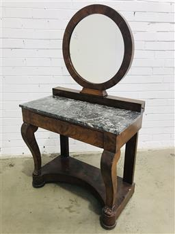 Sale 9097 - Lot 1011 - French Empire Mahogany Washstand, with round mirror on a raised plinth with two side drawer, above a black & white mottled marble to...