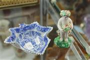 Sale 8217 - Lot 45 - Derby Figure of Spring & a Blue & White Pearl Glaze Leaf Dish